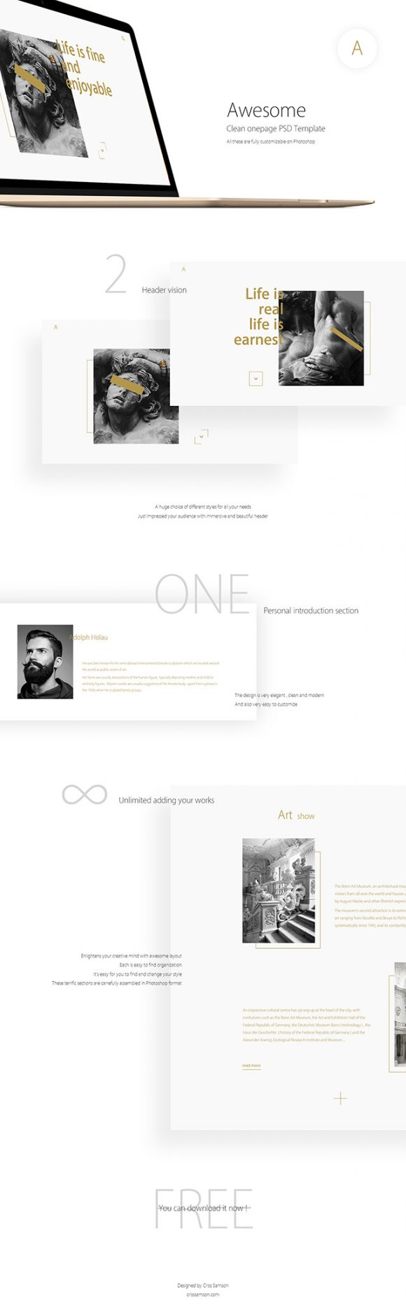 Clean OnePage PSD template - Full preview