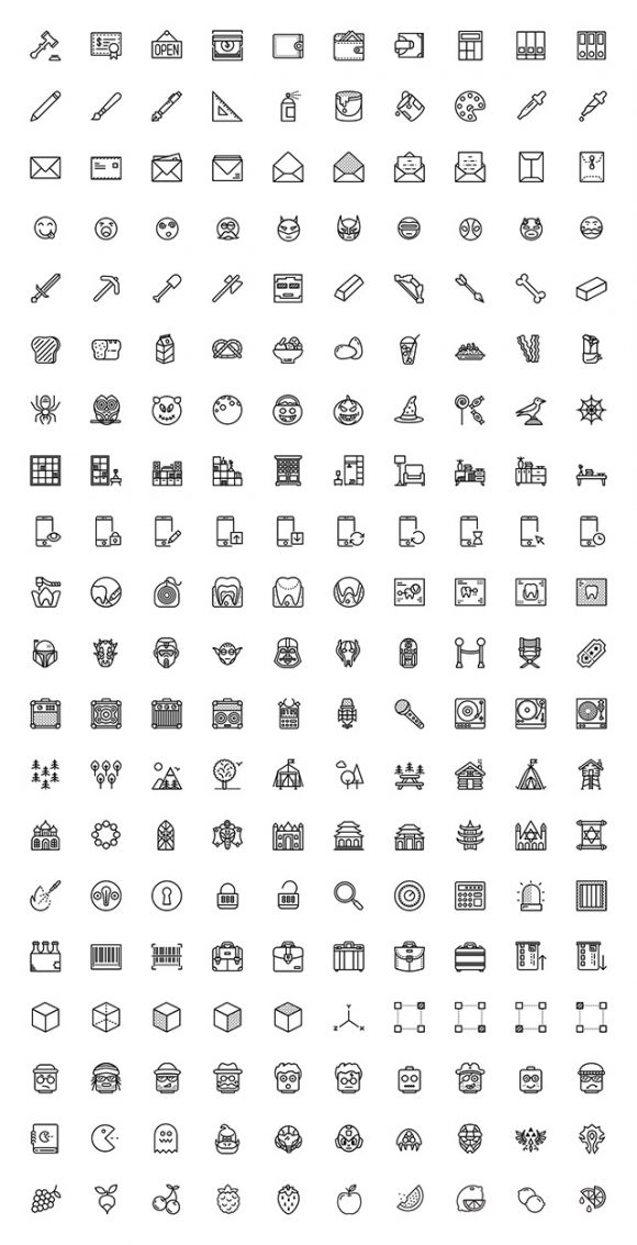 200 misc icons by Smashicons - Full preview