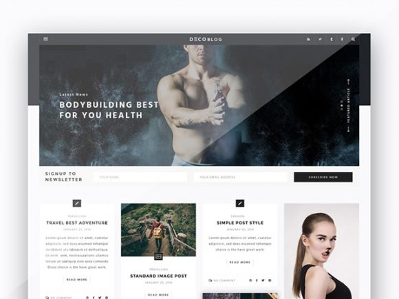 Personal blog PSD template
