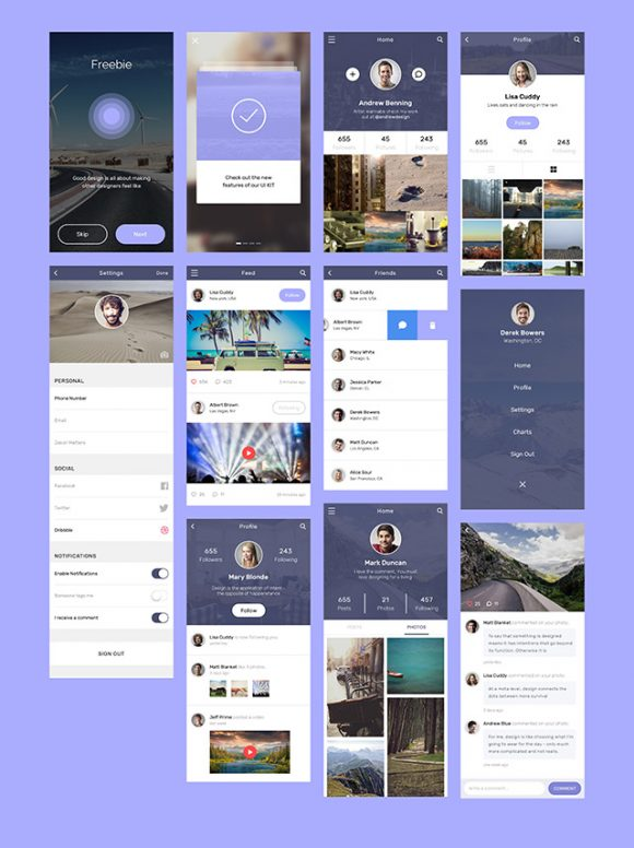 Social app concept design - Full preview