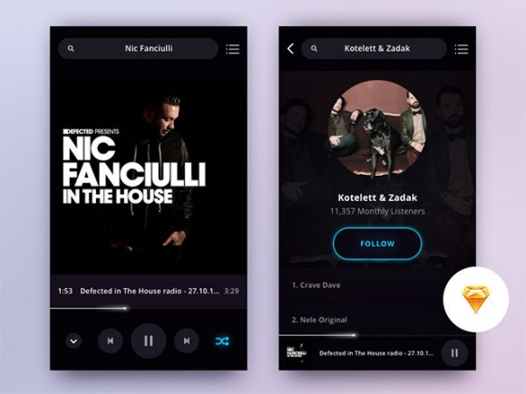 Music player app screens for Sketch
