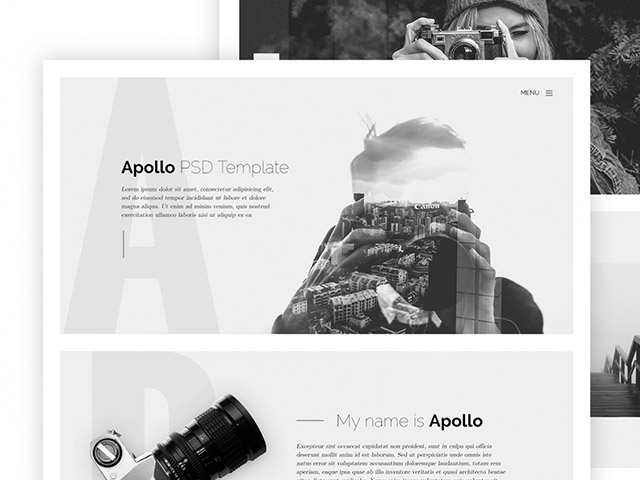 Apollo: One page HTML template for photographers - Freebiesbug