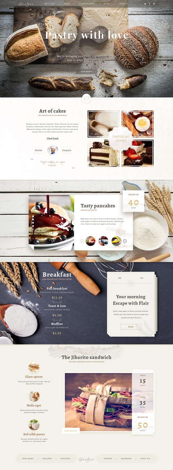 Bakery PSD website template - Ful preview