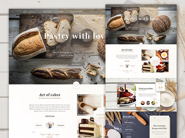 Bakery PSD website template - Freebiesbug
