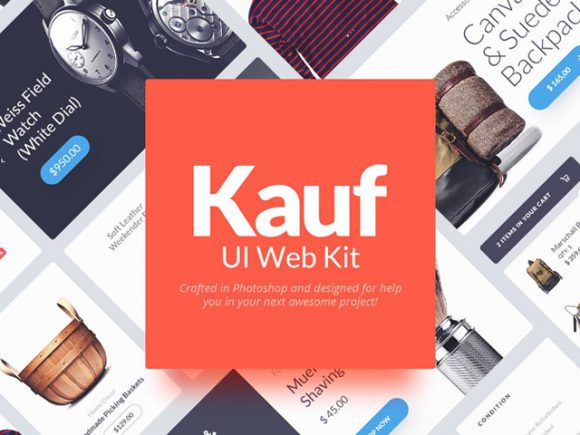 Free Kauf: Free web UI kit for Photoshop download