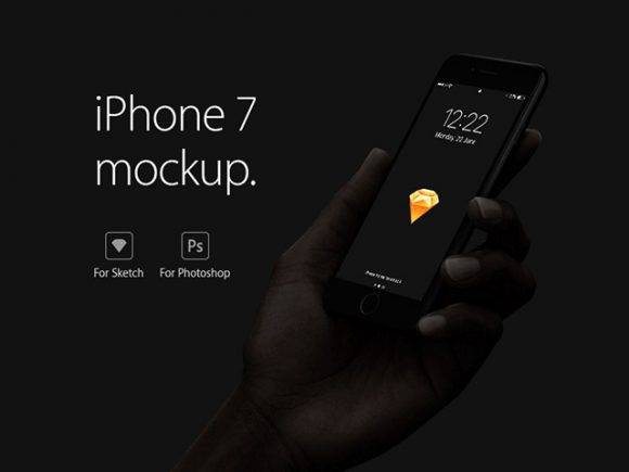 Handheld iPhone 7 mockup for Sketch and Photoshop
