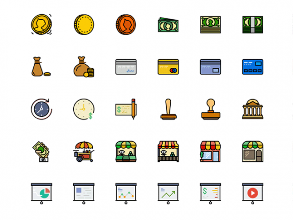 170 Retro Business icons for Sketch