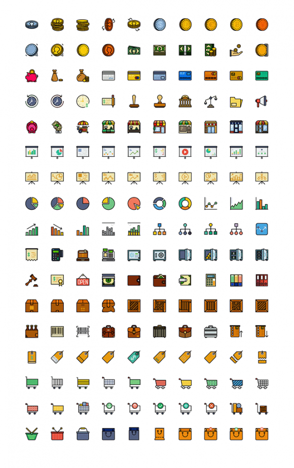 170 Retro Business icons for Sketch - Full preview