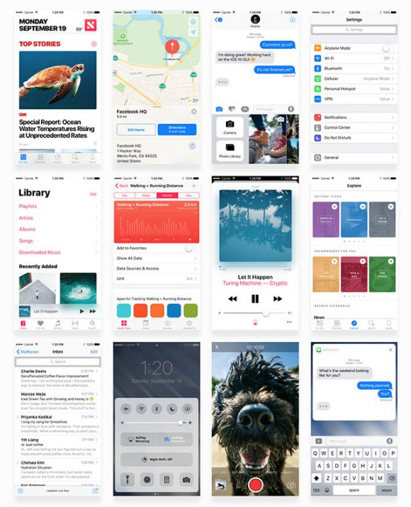 Facebook iOS 10 UI kit - Full preview