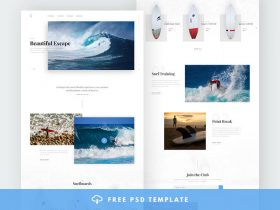 Blog and e-commerce PSD template for surfers
