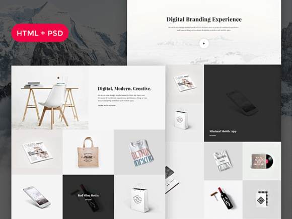 Snow free psd html portfolio template freebiesbug for Free portfolio website templates