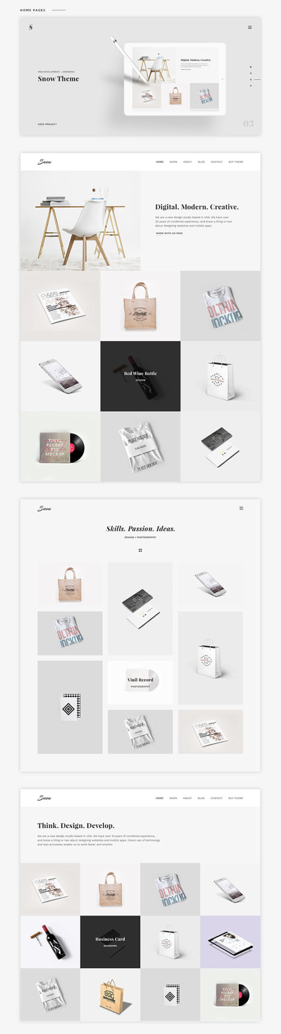Snow free psd html portfolio template freebiesbug snow portfolio template preview flashek Image collections
