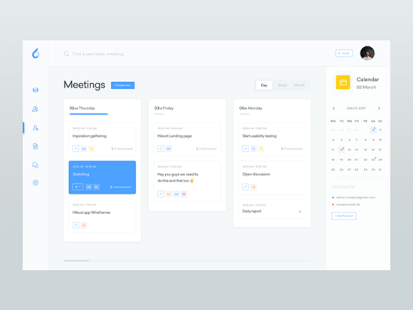 ooto dashboard template: The meeting screen