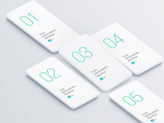 free set of smartphone clay mockups for sketch photoshop
