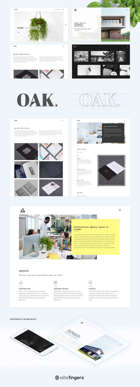 OAK HTML template. Full preview