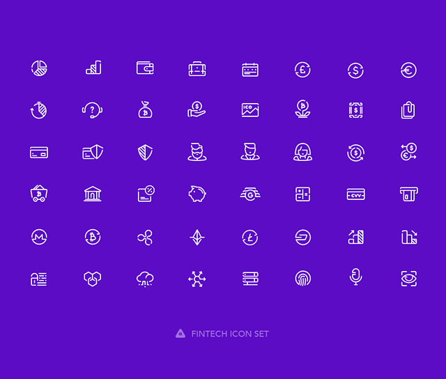 Preview of all 48 solid fintech icons