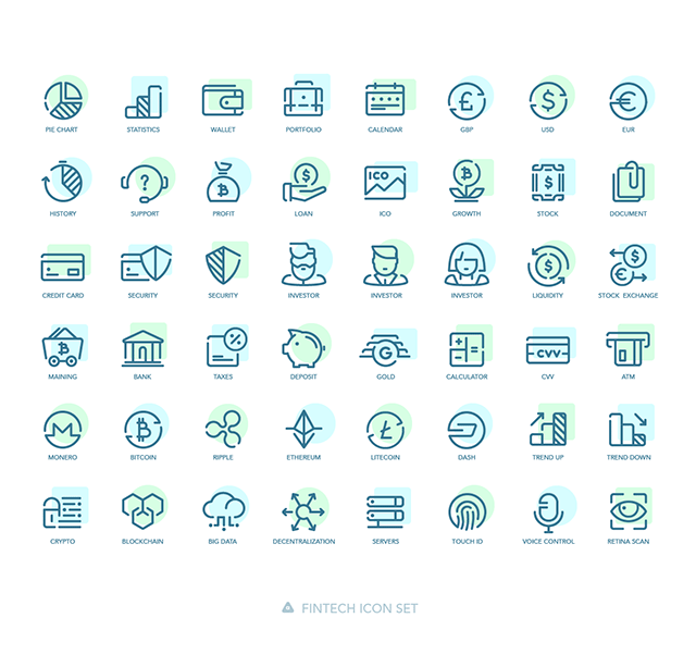 Preview of all 48 coloured fintech icons