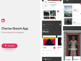 Cherise app concept: 20 sample screens for Sketch