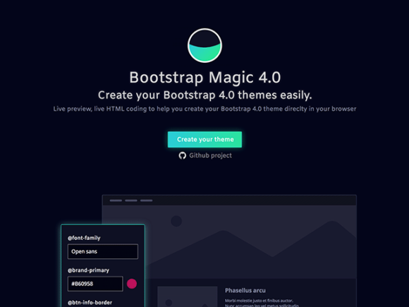 Bootstrap Magic: A tool for creating Bootstrap themes