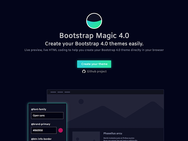 bootstrap magic a tool for creating bootstrap themes