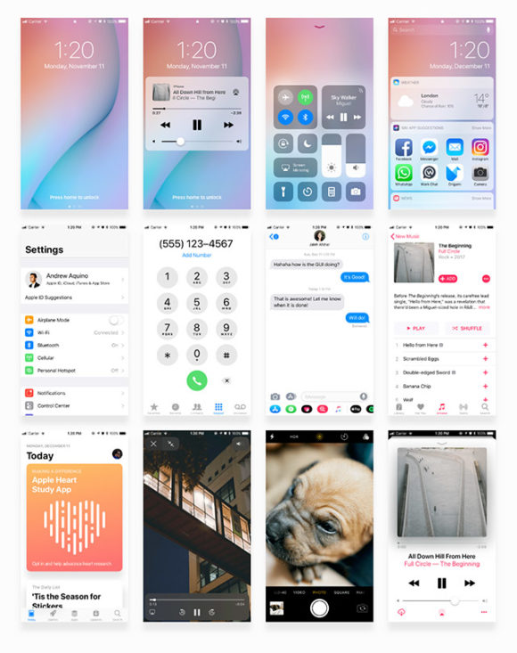 Sample screens of Facebook iOS 11 UI kit