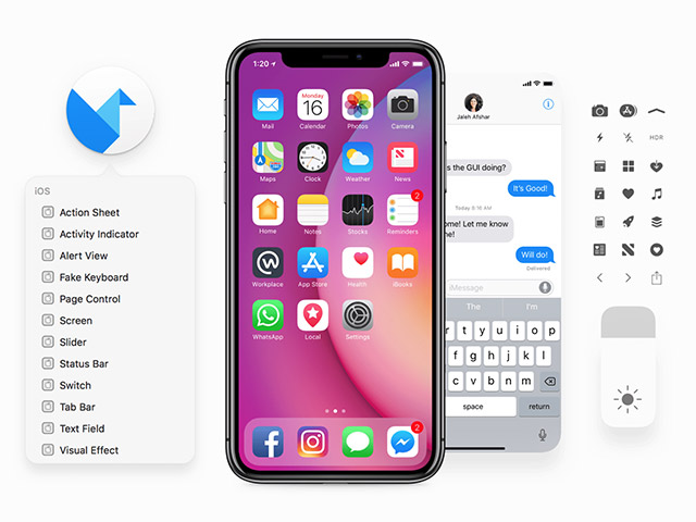 Facebook iOS 11 iPhone UI kit