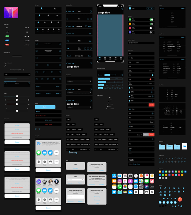 iOS 11 UI kit - Dark version preview