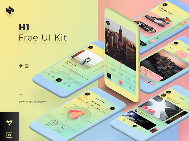 H1: A colorful mobile UI kit