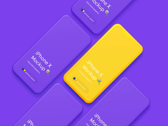 Minimal iPhone X mockups in purple