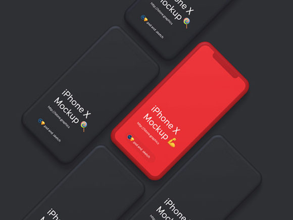 Minimal iPhone X mockups in black