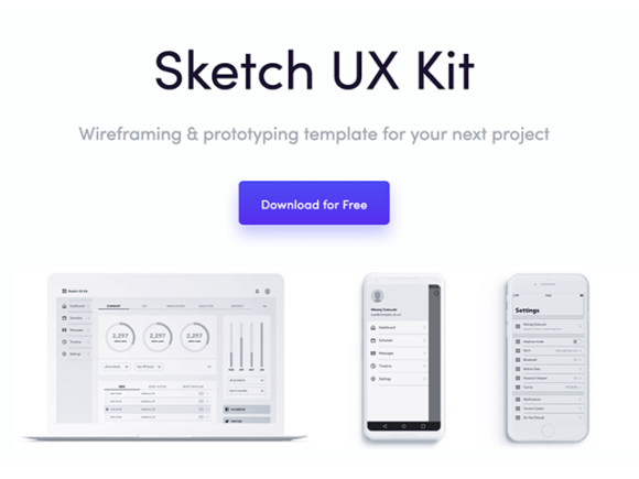 Sketch UX kit for wireframing & prototyping