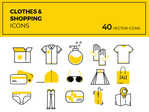 40 Cloths & shopping vector icons
