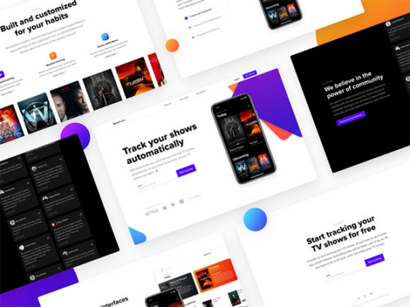 ShowTrackr landing page for Sketch