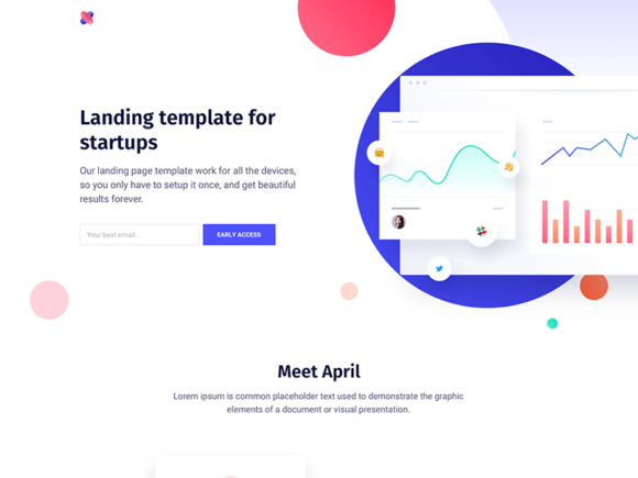 April: Landing page template for startups