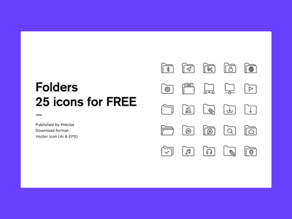 25 folder icons in vector format