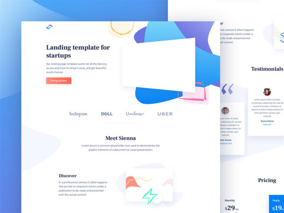 Sienna: Free HTML template for startups