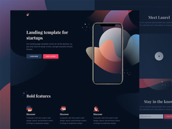 Laurel: Free HTML landing page for app presentation