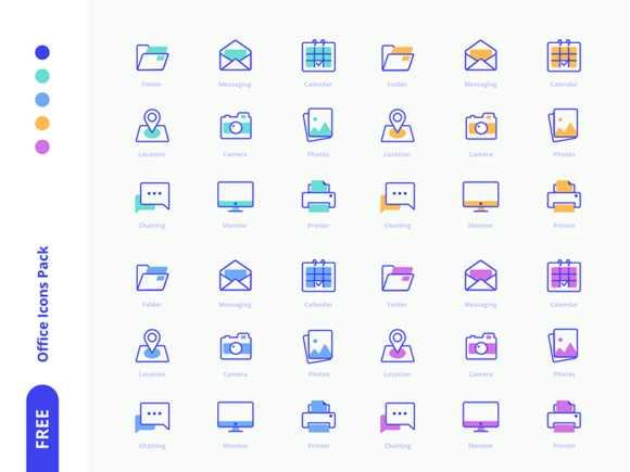 18 Free office icons (SVG + Sketch formats)