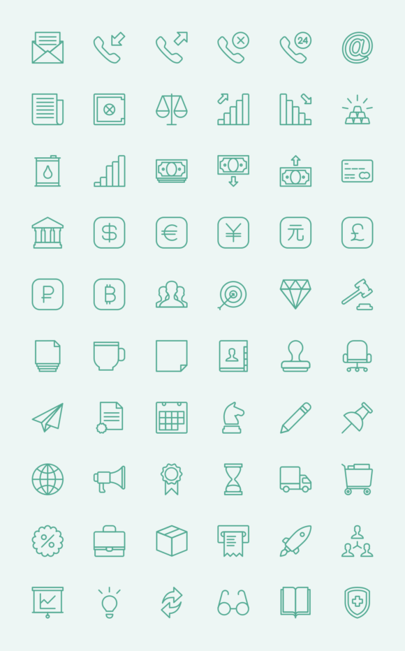 Business outline icons preview