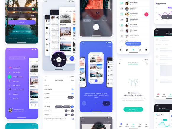 Atro: Free UI kit with 12 ready-made app screens