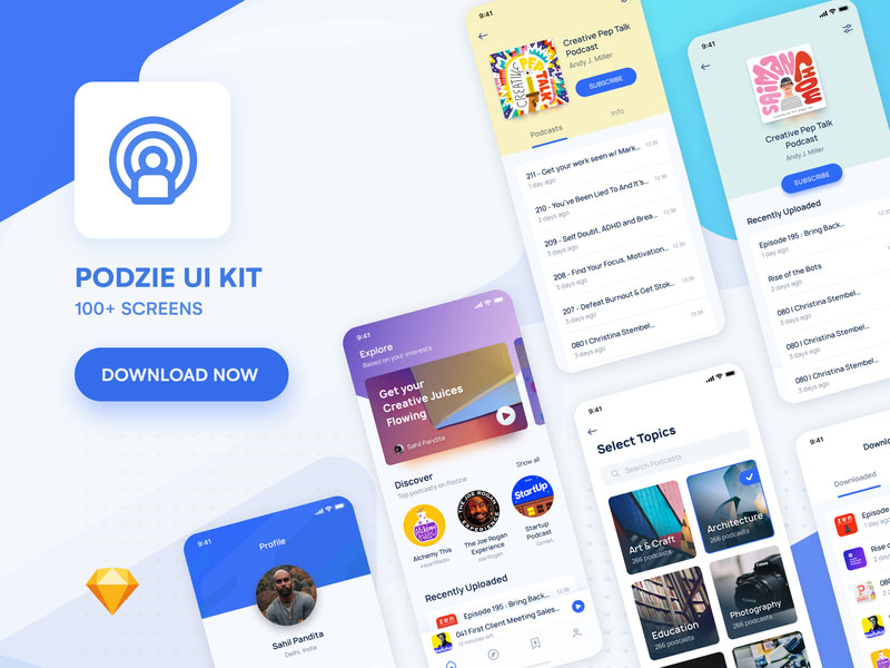 Podzie: UI kit for podcast app