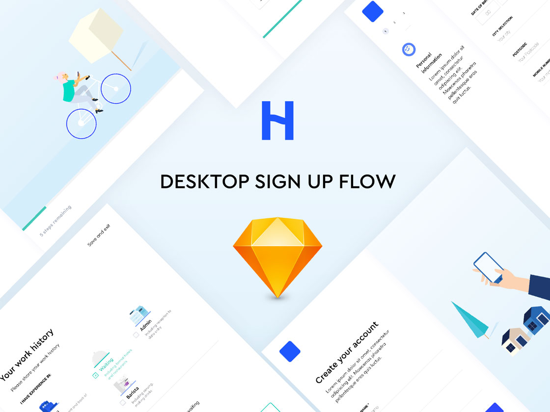 Signup flow: 6 beautiful UI screens
