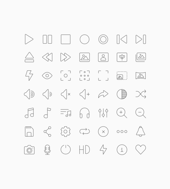 60 multimedia icons preview