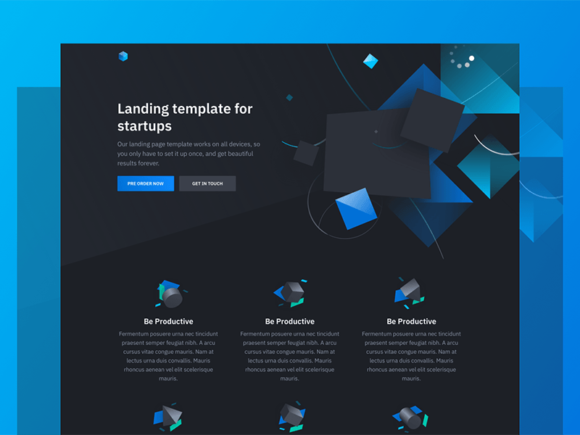 Solid: Free HTML template featuring 3D illustrations