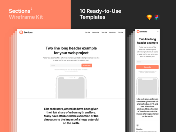 Sections 2: Big library of layouts for web prototyping