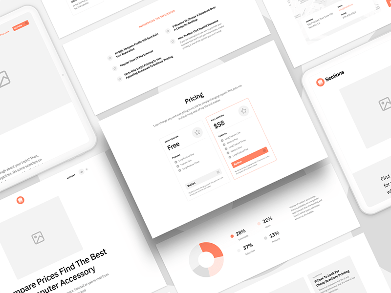 Sections: Wireframe kit for landing pages