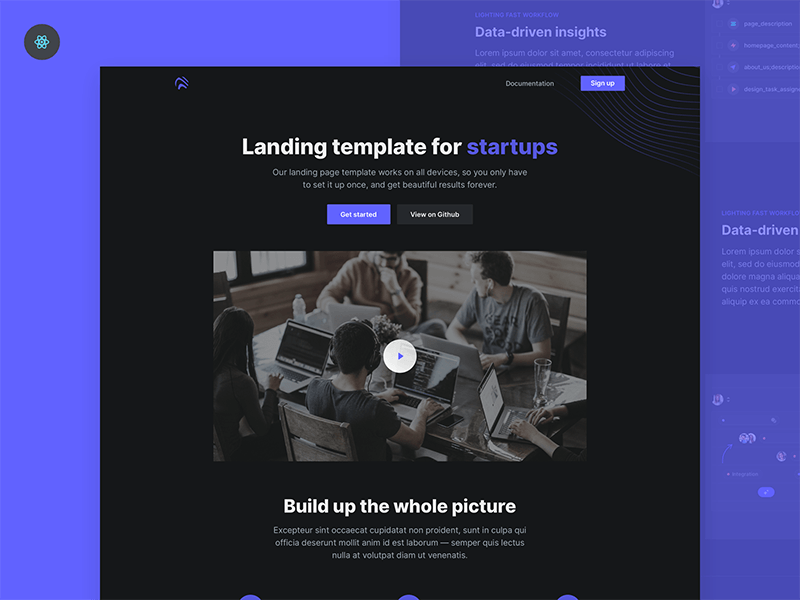 Open: Free React landing page template