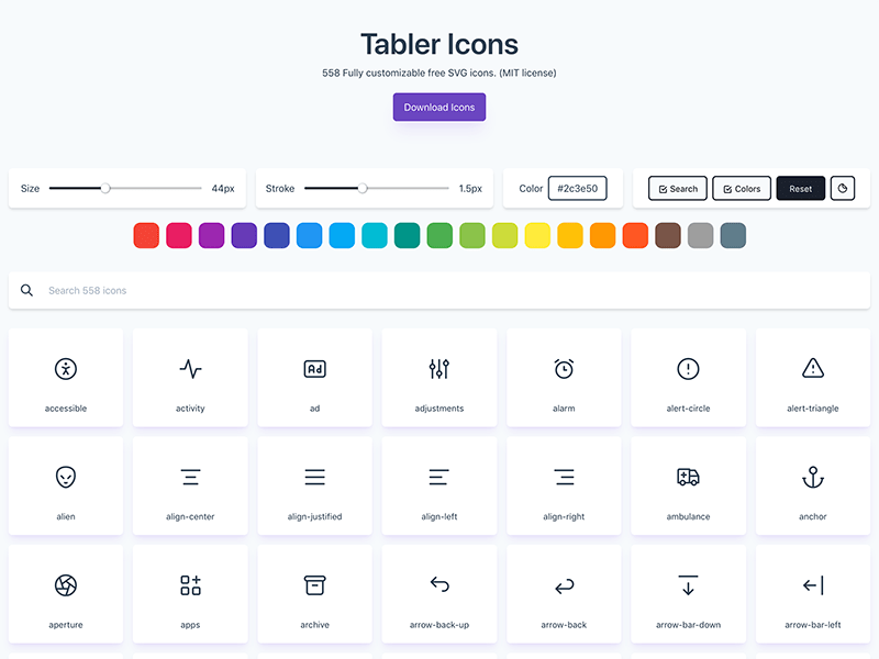 Tabler Icons preview