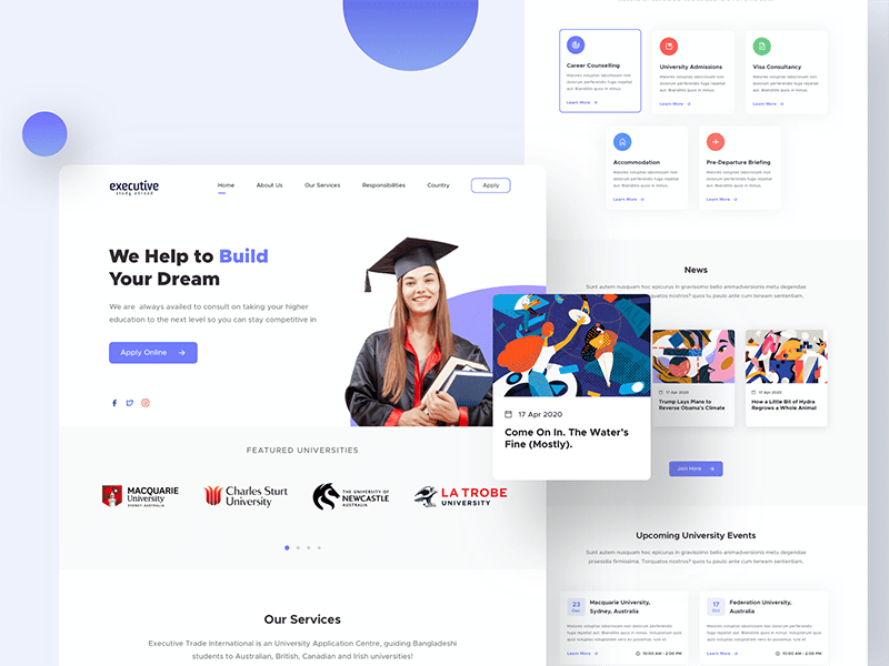 Education & LMS landing page design