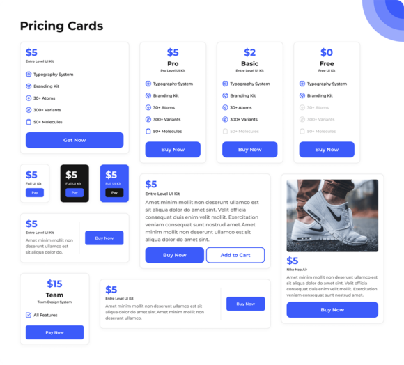 Pricing tables preview